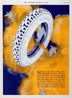 VintageArte ♥- Michelin Bibendum Angel Tire Poster : Posters and Framed Art Prints Available
