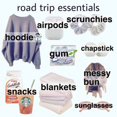Road Trip Packing, Road Trip Hacks, Packing Tips For Travel, Packing Lists, Travel Bag Essentials, Road Trip Essentials, Airplane Essentials, Girl Advice, Girl Tips