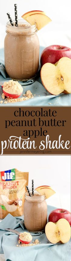 Use Jif® Peanut Powder to make this tasty Chocolate Peanut Butter Apple Protein Shake!