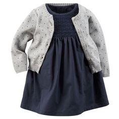 2-Piece Eyelet Lace Dress & Sweater Set