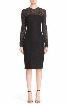 Carmen Marc Valvo Couture Embellished Illusion Lace Knit Sheath Dress