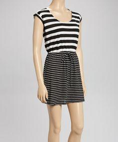 Another great find on #zulily! Black & White Stripe Cap-Sleeve Dress by Derek Heart #zulilyfinds