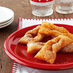 Grandmas Polish Cookies Recipe -This traditional khruchiki recipe has been handed down through my mothers side from my great-grandmother. As a child, it was my job to loop the end of each cookie through its hole. —Sherine Elise Gilmour, Brooklyn, New York Cookie Desserts, Cookie Recipes, Dessert Recipes, Dessert Ideas, Secret Cookie Recipe, Polish Cookies, Biscuits, Polish Recipes, Polish Food