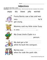 Adjective Worksheets, for younger kids, but could be modified! More