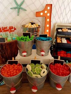 Bait Shop Birthday Table - Birthday Party Ideas for Kids and Adults Boys First Birthday Party Ideas, Baby Boy 1st Birthday, Birthday Table, Boy Birthday Parties, 1st Birthday Themes, Boy Birthday Cupcakes, 1st Birthday Decorations, Birthday Recipes, Birthday Crafts