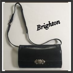 "Brighton Leather Wallet Black Crossbody Purse Bag Brighton Leather Wallet Black Crossbody Purse Silver Buckle Multi Compartment outside Zipper Pocket Adjustable Strap 7.5"" x 4"" EUC Trades Brighton Bags Crossbody Bags"
