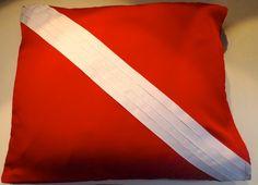 Dive Pillow  Diver Down Flag Pillow Case  Scuba by TheCraftyRascal, $60.00