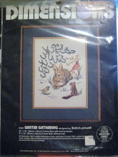 Winter Gathering Dimensions Counted Cross Stitch Kit Rabbit Cardinal Chipmunk  #Dimensions
