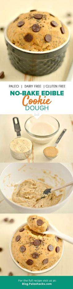 Bring back your childhood with this delicious no-bake edible cookie dough. It's Pale, gluten-free and dairy-free!