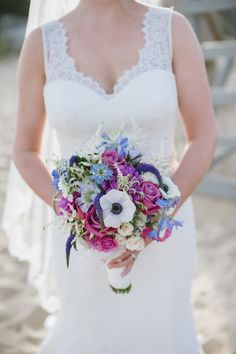 #Bouquet : Light Blue + Radiant Orchid | See more of this Cape Cod Wedding on SMP:  http://www.StyleMePretty.com/little-black-book-blog/2014/01/31/preppy-chic-popponesset-inn-wedding/ Lauren Methia Photography