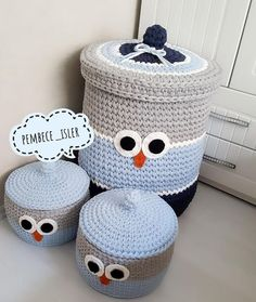 Diy Crochet Basket, Crochet Box, Crochet Owls, Crochet Basket Pattern, Knit Basket, Love Crochet, Crochet Patterns, Crochet Lego, Crochet Crafts