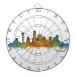 Dallas Texas City Watercolor Skyline Hq v2 Dartboard #Texas