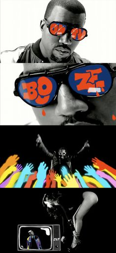 Kanye West . tracking media technique animation see through the sun glasses and TV. Black and white live action motif with typography and graphics in colour.