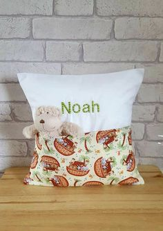 Noah's Ark Cushion for Child~Personalized Pocket Pillow~Nursery Decor~Kid's Bedroom Decoration~Birthday Present for Children~New Baby Gift by ElizaGraceUK on Etsy