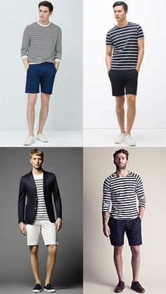 Men's Breton Tops and T-Shirts with Navy/White Shorts - Summer Fashion/Style Outfit Inspiration Lookbook