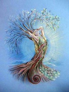 Top Mother Nature Tattoo Goddesses Tree Of Life Ideas Tree Of Life Art, Tree Art, Tree Of Life Painting, Fantasy Kunst, Fantasy Art, Nature Drawing, Nature Artwork, Goddess Art, Nature Tattoos