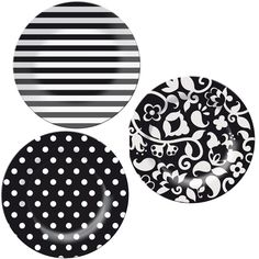 Polka dot plate, stripe plate and vine plate by French Bull available from watermelonred.