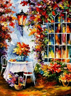 Leonid Afremov, oil on canvas, palette knife, buy original paintings, art, famous artist, biography, official page, online gallery, large artwork, fine, table, garden