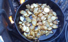 Cast iron skillet fried potatoes over the open fire  Note: While this recipe details the campfire and camp stove method for skillet fried ...