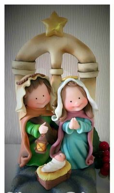 Tierno nacimiento. Nativity Ornaments, Nativity Crafts, Clay Ornaments, Christmas Nativity, Christmas Tree Ornaments, Christmas Pasta, Christmas Time, All Things Christmas, Polymer Clay Sculptures