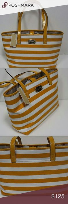 "♥New Michael Kors♥ Michael Kors Large Stripe Tote/Canvas Shoulderbag 38T3CURT3C  Product Key Features Color: Yellow/White Depth: 5 Height: 10 Length: 16"" Material: Canvas Pattern: Striped Size: Large Strap Drop: 10"" Style: Shoulder Bag/Tote Michael Kors Bags Shoulder Bags"
