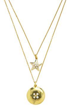 18K Yellow Gold Antique Diamonds Star And Round Necklace by Renee Lewis for Preorder on Moda Operandi