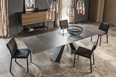 Eliot Keramik Drive Dining Table with Lead Fokos Ceramic Top by Cattelan Italia