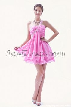 1st-dress.com Offers High Quality Lovely Hot Pink Mini Length Sweet 16 Dress with One Shoulder,Priced At Only US$130.00 (Free Shipping)