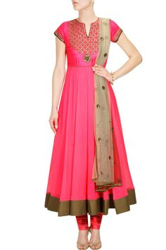 Neon pink embroidered anarkali set with beige ombre dupatta available only at Pernia's Pop Up Shop.