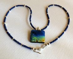 ★ Brilliant Blue ★ Bliue Sapphire Necklace with Fused Glass Dichroic Pendant and Sterling Silver, Statteam