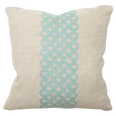 Vanity Embroidered Pillow in Turquoise on Daily Sales @ Wayfair.com (2 days only) $100 linen, embroidered, down filled pillow for $50