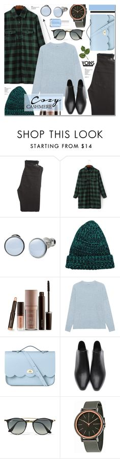 """""""Cozy Cashmere Sweaters - Yoins 18"""" by anyasdesigns ❤ liked on Polyvore featuring Citizens of Humanity, Skagen, Laura Mercier, 360 Sweater, The Cambridge Satchel Company, Ray-Ban and Essie"""