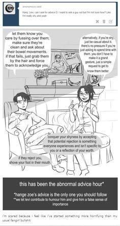 Pinning this not because of Levihan(well, partly because of them) but mainly because of Erwin. i mean look at that portrait! Aot Memes, Funny Memes, Hilarious, Levihan, Ereri, Hanji And Levi, Attack On Titan Comic, Titans Anime, Levi Ackerman