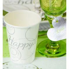 Gobelet carton Happy blanc les 10