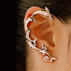 Dolphin Ear Wrap Bronze - Dolphin Earring Dolphin Jewelry - Ocean Jewelry - Non Pierced Earring Non Pierced Ear Cuff - Products - Piercings Octopus Jewelry, Dolphin Jewelry, Mermaid Jewelry, Ocean Jewelry, Plugs Earrings, Crystal Earrings, Etsy Earrings, Dragon Ear Cuffs, Surgical Steel Earrings