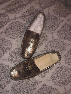 8ad29a83f79 Cole Haan Shelby Gold Driving Shoes Moccasins Loafers Snake Size 7  fashion   clothing
