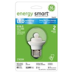 GE Energy Smart 10W Replacement (2W) Globe G16.5 LED Bulb (Warm, Clear) $18.45