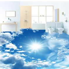 17.18$  Watch now - http://alibfb.shopchina.info/go.php?t=32729444449 - Custom 3D Stereoscopic Floor Murals Wallpaper Blue Sky White Clouds Shining Sun 3D PVC Self-adhesive Bedroom Wall Paper Designs  #aliexpresschina