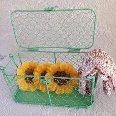 Nylon Sunflower Pot Scrubber / Chicken Wire Basket Set - 3 S. Crochet Scrubbies, Knit Dishcloth, Knit Crochet, Nylons, Chicken Wire, Wire Baskets, Hand Knitting, Best Gifts, Pottery
