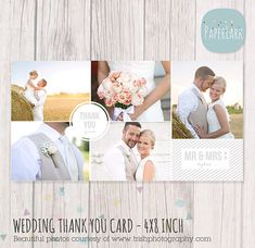 Wedding Thank You Card 4x8 inch - Photoshop template - AW013 - INSTANT DOWNLOAD