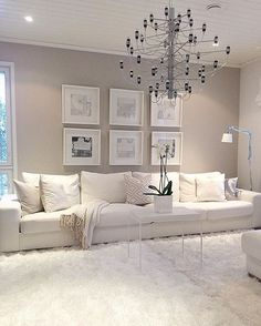 white living room decor view larger red black and white living room decorating ideas. white living r Living Room Interior, Home Living Room, Living Room Designs, Taupe Living Room, Cream Carpet Living Room, Cream And White Living Room, Cream Living Room Decor, Beige Room, Room Carpet