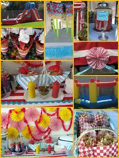 A fun & whimsical Carnival themed children's party. I like the paper pinwheels and garland decor.