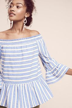Nova Striped Off-The-Shoulder Top. Light and bright for the spring months. Keeping it cool by showing a little shoulder.