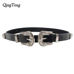 3be03a9be4 Carved Double Metal Pin Buckle Women Belts Vintage High Quality Strap Brand  Designer Design Jeans Genuine