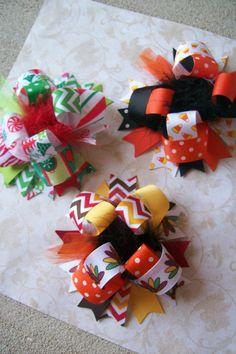Holiday Hair Bow Set Over the Top Hair Bow by bowdaciousbows417