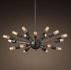 Restoration Hardware - Sputnik Elliptical Filament chandelier x Cheap Chandelier, Kitchen Chandelier, Cheap Pendant Lights, Sputnik Chandelier, Chandelier Lighting, Table Lighting, Pendant Lamps, Round Pendant, Industrial Style Lighting