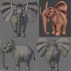 Disney style Elephant - Blender model Zbrush Character, 3d Character, Character Concept, Blender Character Modeling, Character Model Sheet, Simple Cartoon Characters, Cartoon Styles, Face Topology, Low Poly