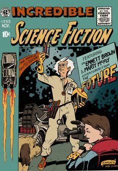 This is a fan art which I did based on Wally Woods cover for Incredible Science Fiction. Back To The Future comic cover Room Posters, Poster Wall, Poster Prints, Vintage Cartoon, Vintage Comics, Vintage Disney Posters, Poster Retro, Comic Poster, Retro Graphic Design
