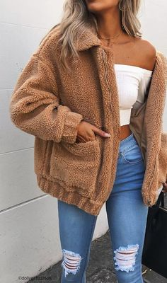 #spring #outfits ✽ TEDDY COAT ✽ Perfect Outerwear For A Chilly Day /// ESSPRESSO JACKET - TAN 🍃
