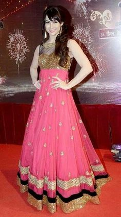Pink anarkali dress...would this make most of us look shorter than we are?